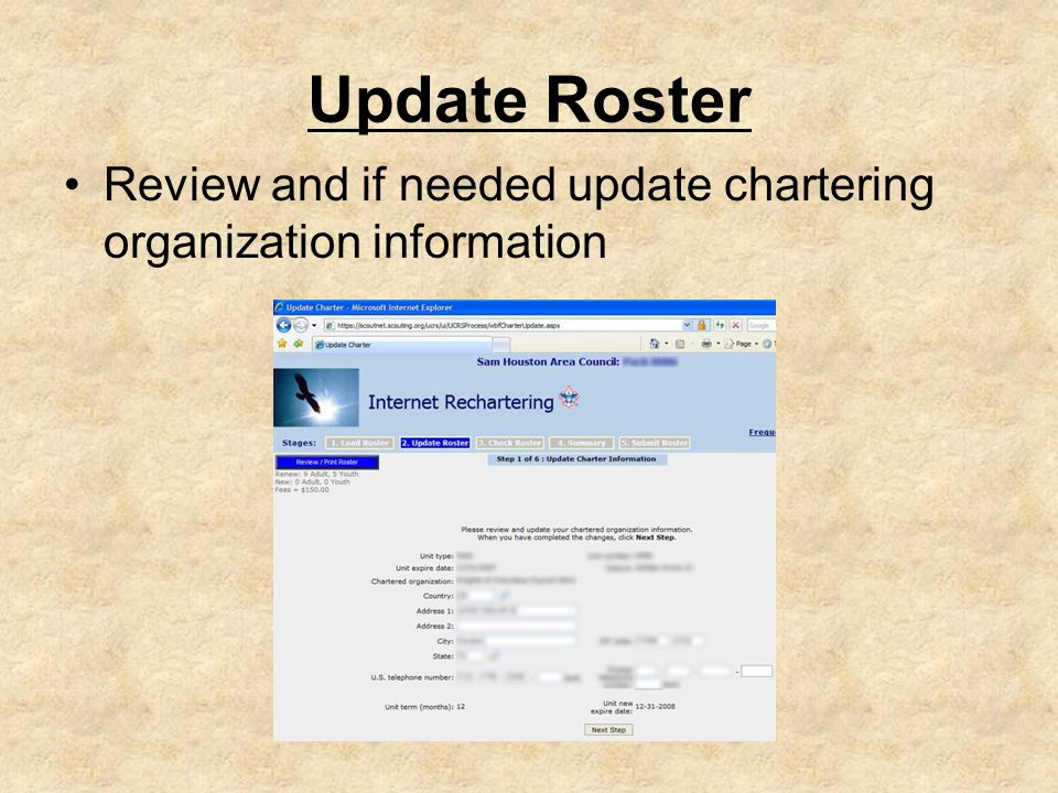 Update Roster Review and if needed update chartering organization information