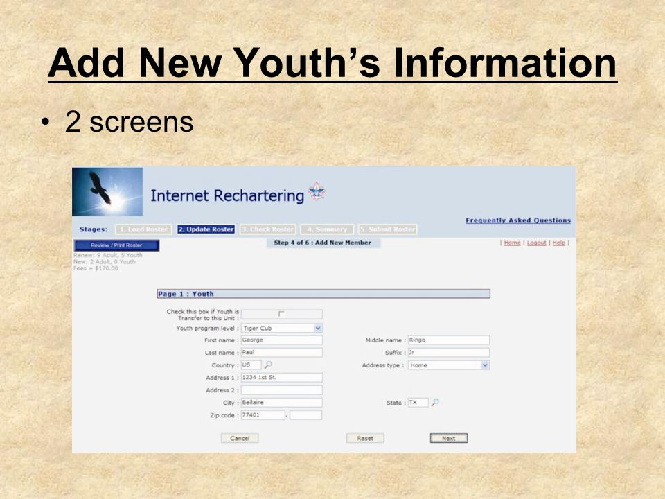 Add New Youth's Information 2 screens