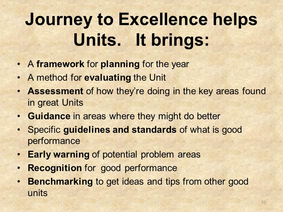 Journey to Excellence helps Units.