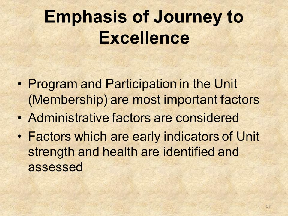 Emphasis of Journey to Excellence Program and Participation in the Unit (Membership) are most important factors Administrative factors are considered Factors which are early indicators of Unit strength and health are identified and assessed 57