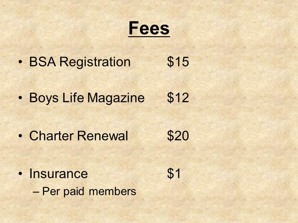 Fees BSA Registration$15 Boys Life Magazine$12 Charter Renewal $20 Insurance$1 –Per paid members