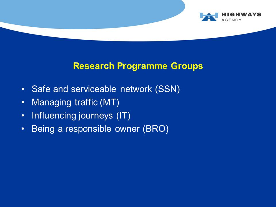 Research Programme Groups Safe and serviceable network (SSN) Managing traffic (MT) Influencing journeys (IT) Being a responsible owner (BRO)