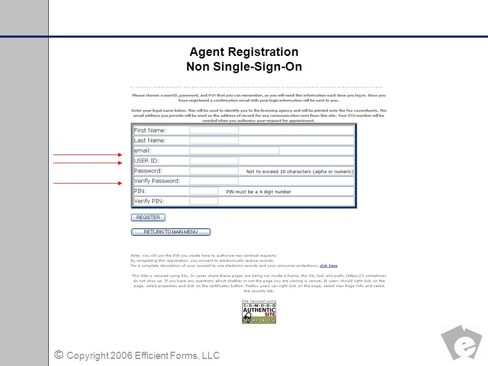 © Copyright 2006 Efficient Forms, LLC Agent Instruction Page