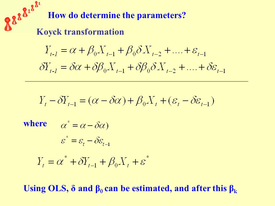 where Using OLS, δ and β 0 can be estimated, and after this β k How do determine the parameters.