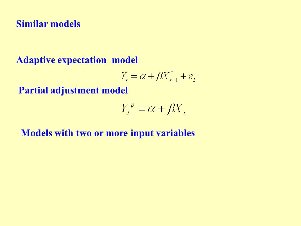 Similar models Adaptive expectation model Partial adjustment model Models with two or more input variables