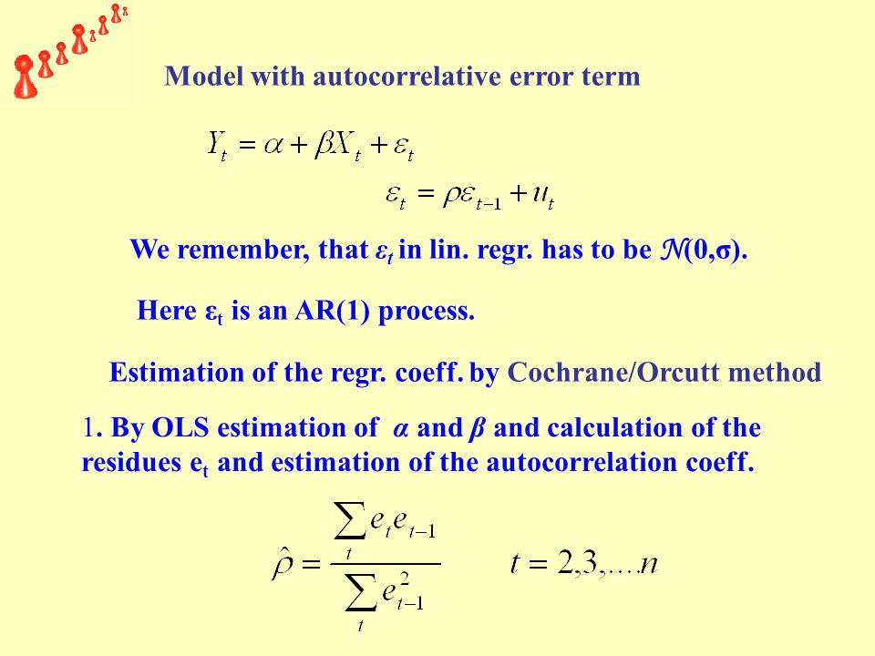 Model with autocorrelative error term We remember, that ε t in lin.