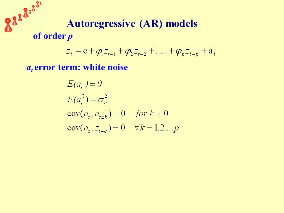 Autoregressive (AR) models of order p a t error term: white noise
