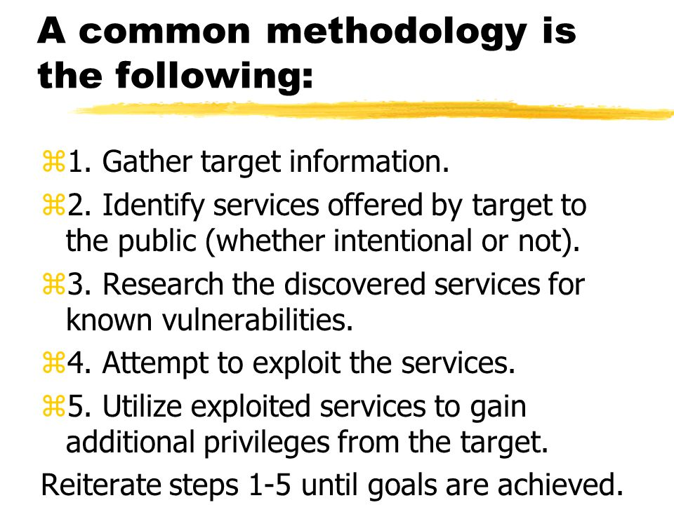 A common methodology is the following: z1. Gather target information. z2. Identify services offered by target to the public (whether intentional or no
