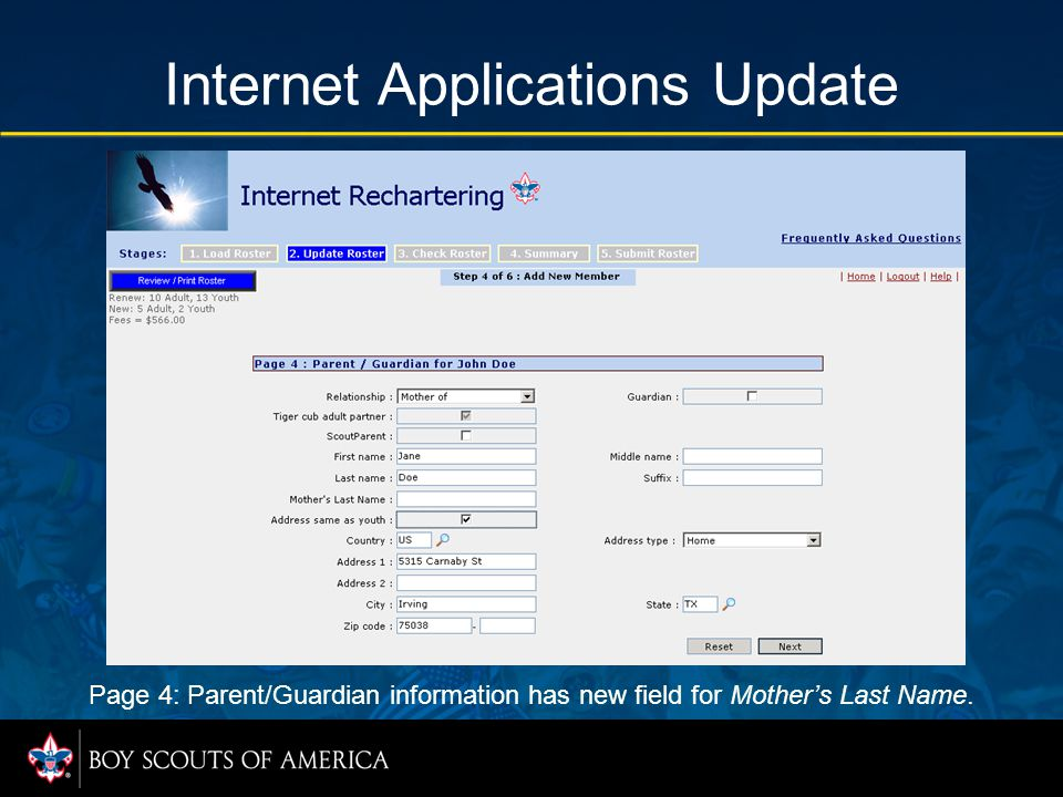 Internet Applications Update Page 4: Parent/Guardian information has new field for Mother's Last Name.