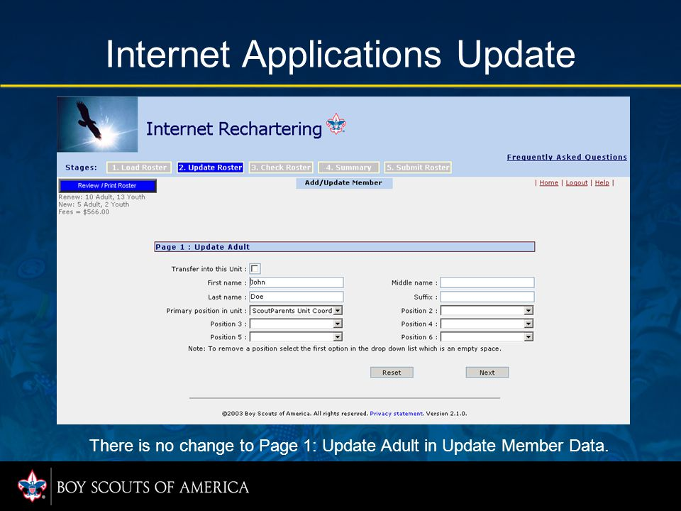 Internet Applications Update There is no change to Page 1: Update Adult in Update Member Data.