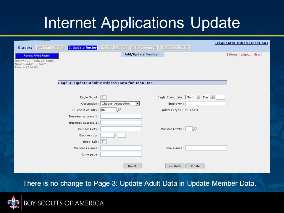 Internet Applications Update There is no change to Page 3: Update Adult Data in Update Member Data.
