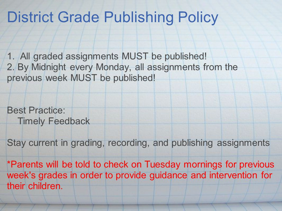 District Grade Publishing Policy 1. All graded assignments MUST be published.