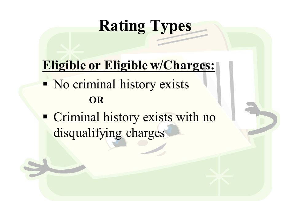 Eligible or Eligible w/Charges:  No criminal history exists OR  Criminal history exists with no disqualifying charges Rating Types