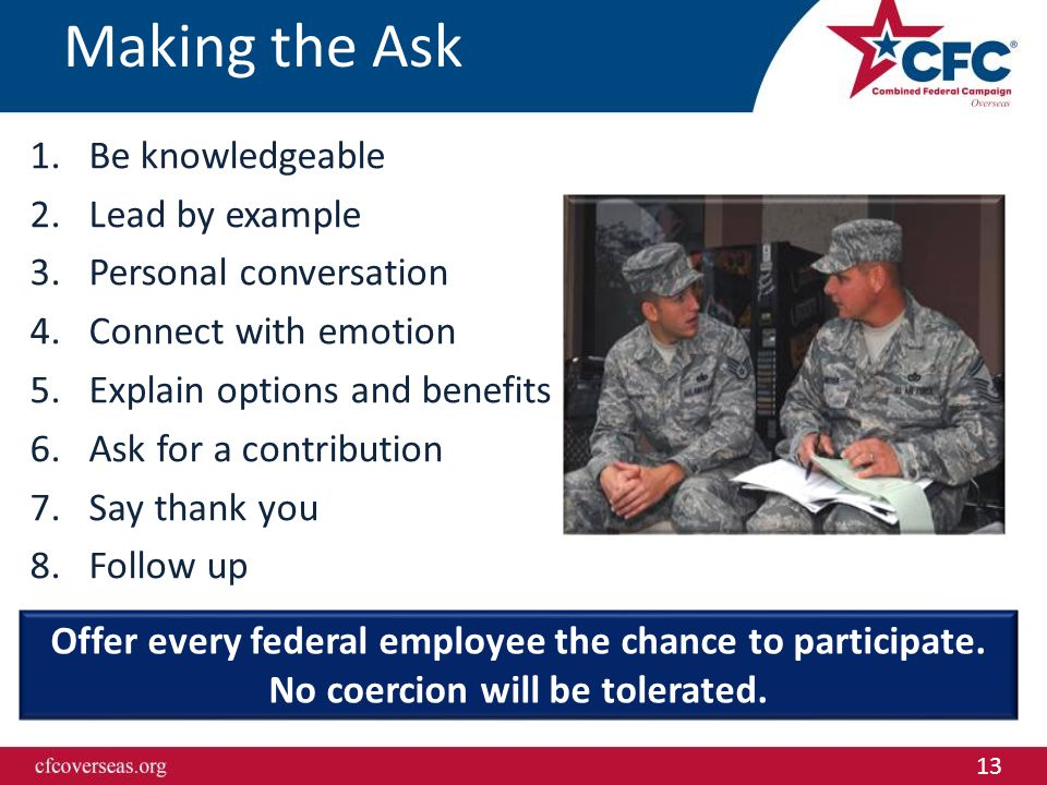 13 Making the Ask 1.Be knowledgeable 2.Lead by example 3.Personal conversation 4.Connect with emotion 5.Explain options and benefits 6.Ask for a contr