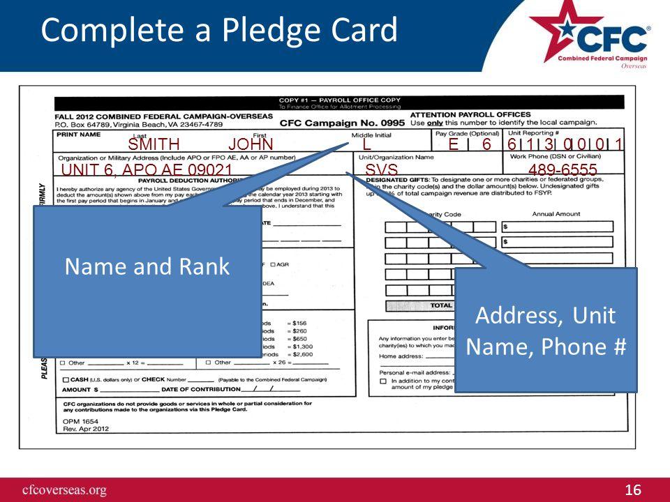 16 6 1 3 0 0 0 1SMITHJOHNL E 6 UNIT 6, APO AE 09021 SVS 489-6555 Complete a Pledge Card Name and Rank Address, Unit Name, Phone #