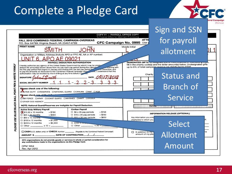 17 6 1 3 0 0 0 1SMITHJOHNL E 6 UNIT 6, APO AE 09021 SVS 489-6555 JohnLSmith 09/17/2012 1 1 1 2 2 3 3 3 3 XxXx x Complete a Pledge Card Sign and SSN fo