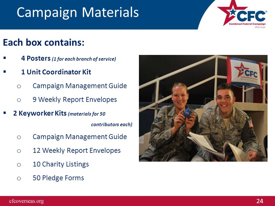 24 Campaign Materials Each box contains:  4 Posters (1 for each branch of service)  1 Unit Coordinator Kit o Campaign Management Guide o 9 Weekly Report Envelopes  2 Keyworker Kits (materials for 50 contributors each) o Campaign Management Guide o 12 Weekly Report Envelopes o 10 Charity Listings o 50 Pledge Forms