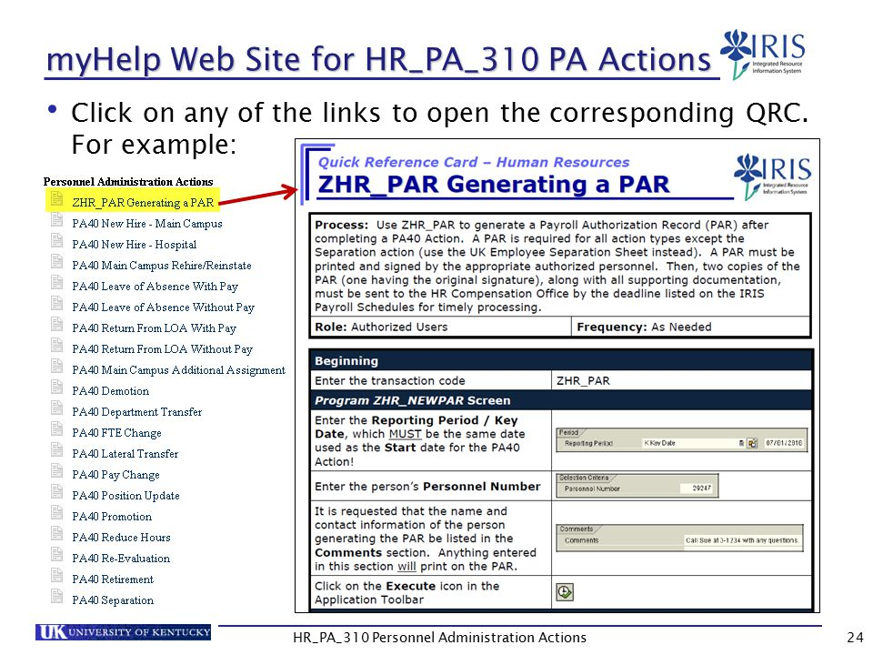 myHelp Web Site for HR_PA_310 PA Actions Click on any of the links to open the corresponding QRC.