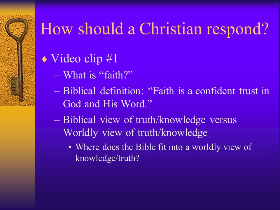 How should a Christian respond. Video clip #2 -  Doesn't deal with theological matters.