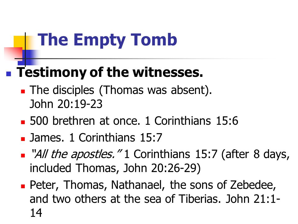 Testimony of the witnesses. The disciples (Thomas was absent).