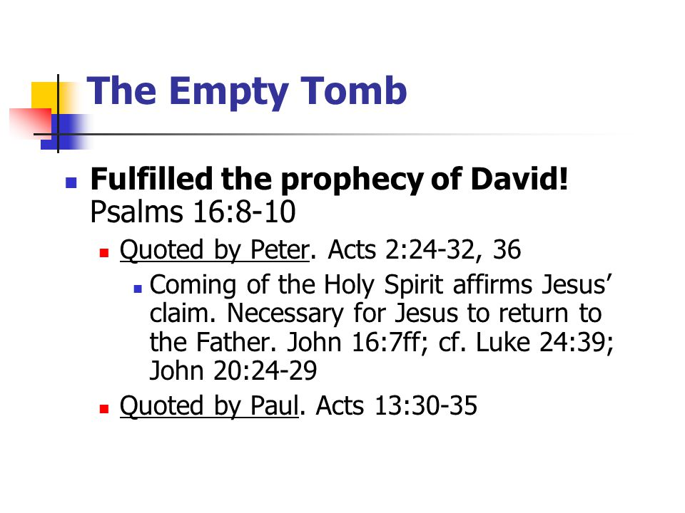 Fulfilled the prophecy of David. Psalms 16:8-10 Quoted by Peter.