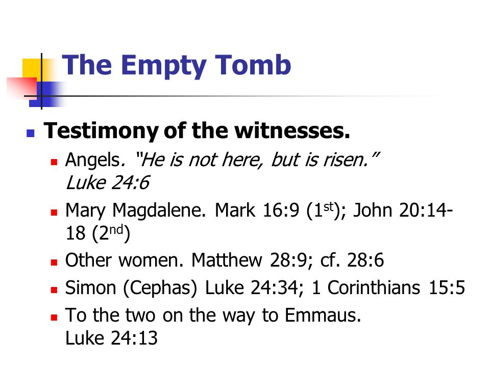 Testimony of the witnesses.The disciples (Thomas was absent).
