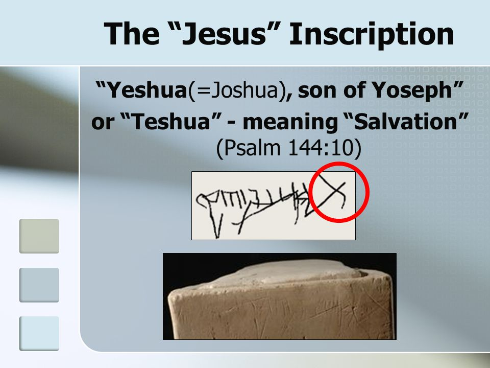 "The ""Jesus"" Inscription ""Yeshua(=Joshua), son of Yoseph"" or ""Teshua"" - meaning ""Salvation"" (Psalm 144:10)"