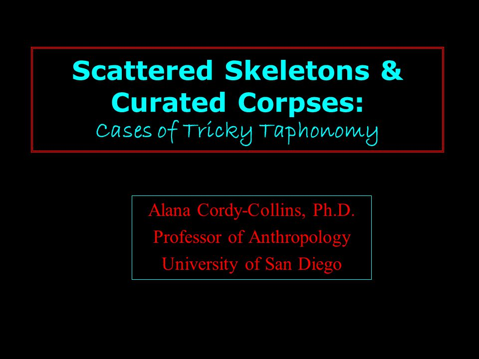 Scattered Skeletons & Curated Corpses: Cases of Tricky Taphonomy Alana Cordy-Collins, Ph.D. Professor of Anthropology University of San Diego