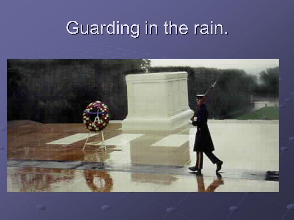 Guarding in the rain.