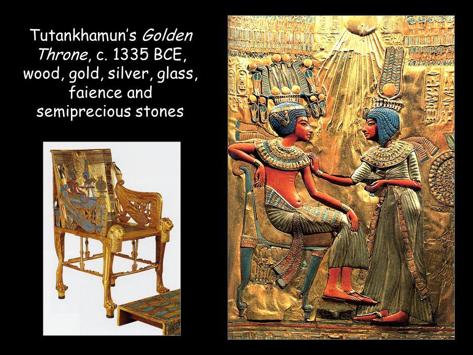 Tutankhamun's Golden Throne, c. 1335 BCE, wood, gold, silver, glass, faience and semiprecious stones