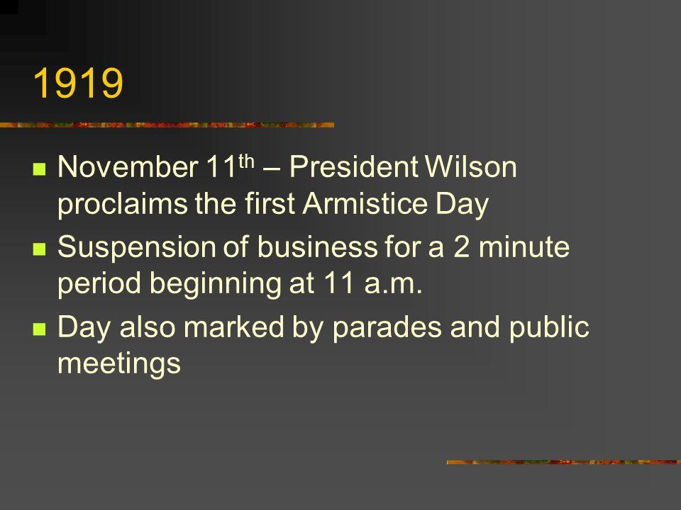 1978 Veteran's Day observance reverts to November 11