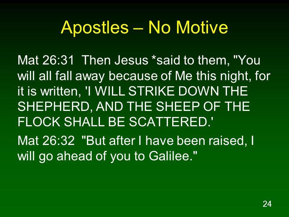 24 Apostles – No Motive Mat 26:31 Then Jesus *said to them,