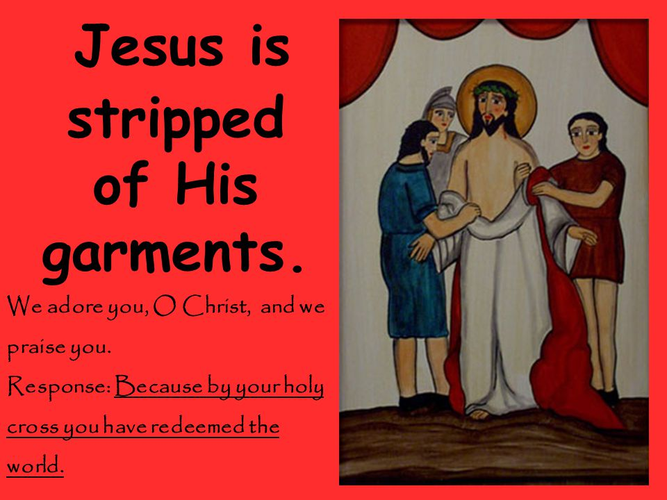 Jesus is stripped of His garments. We adore you, O Christ, and we praise you.