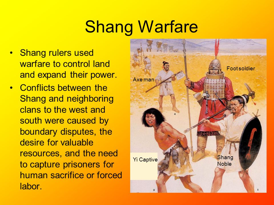 Shang Warfare Shang rulers used warfare to control land and expand their power.