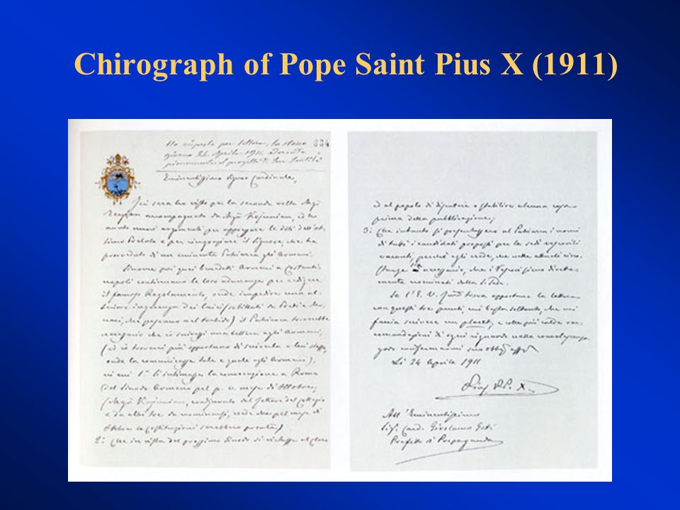 Chirograph of Pope Saint Pius X (1911)