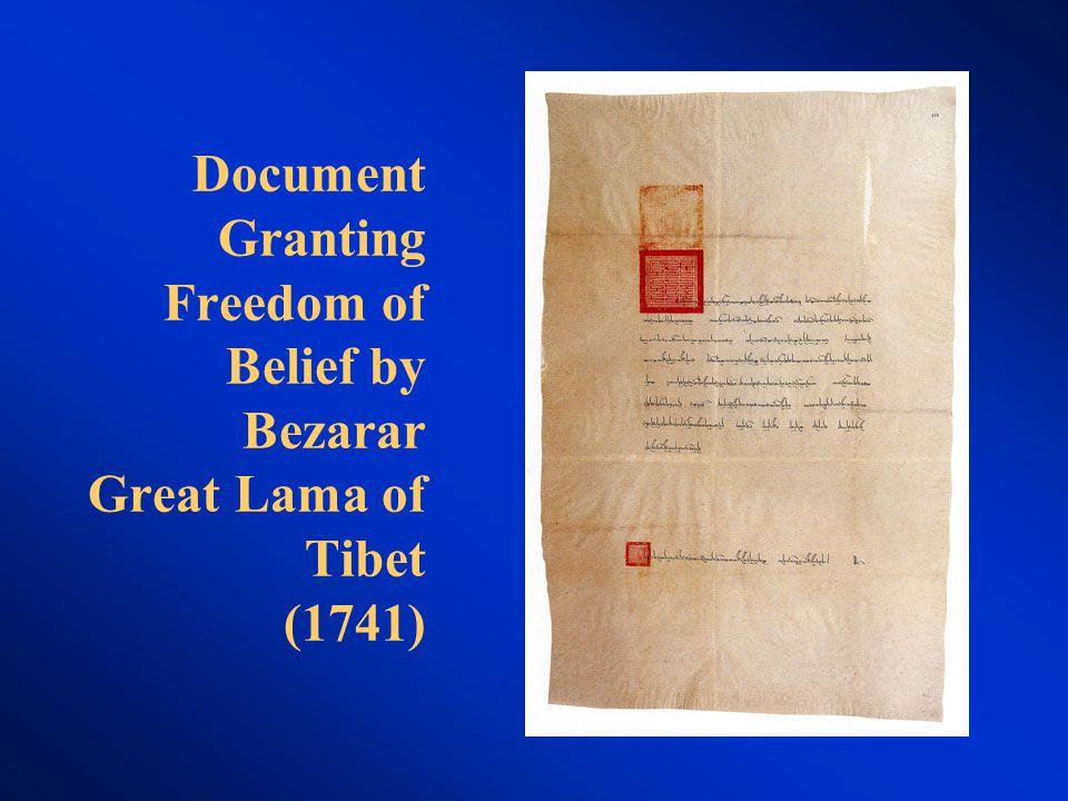 Document Granting Freedom of Belief by Bezarar Great Lama of Tibet (1741)