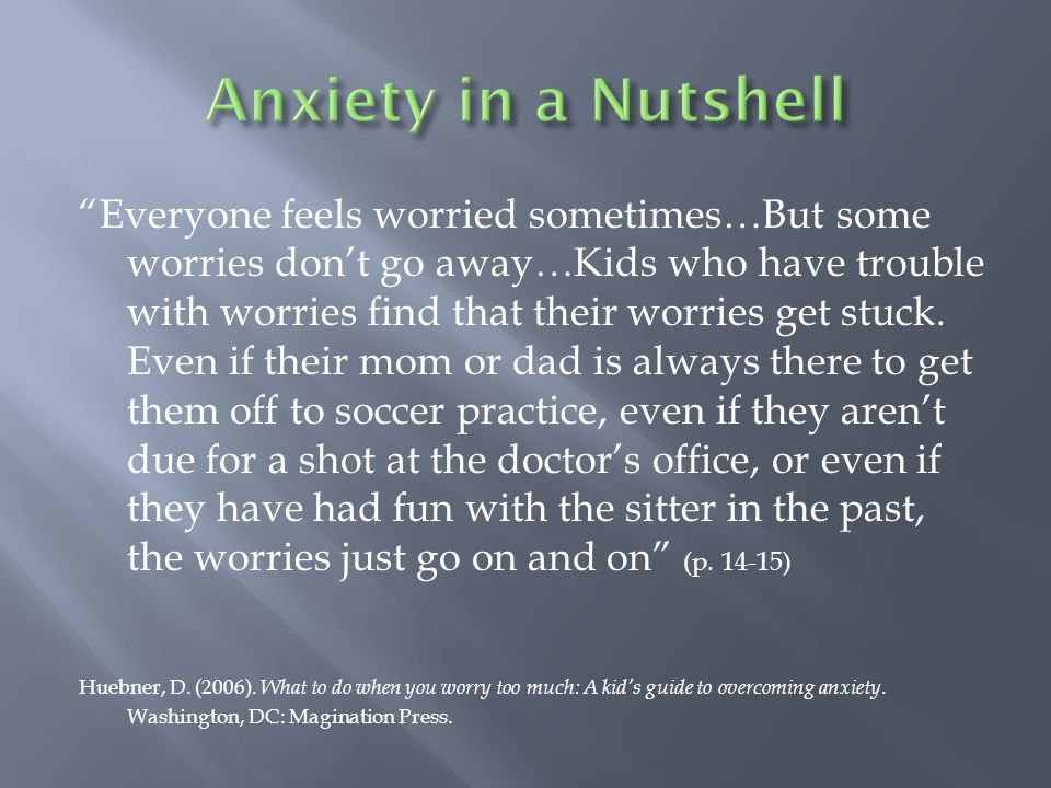  Panic Disorder  Marked by the presence of panic attacks  Persistent worry about having another panic attack  May be set off by situational triggers (p.