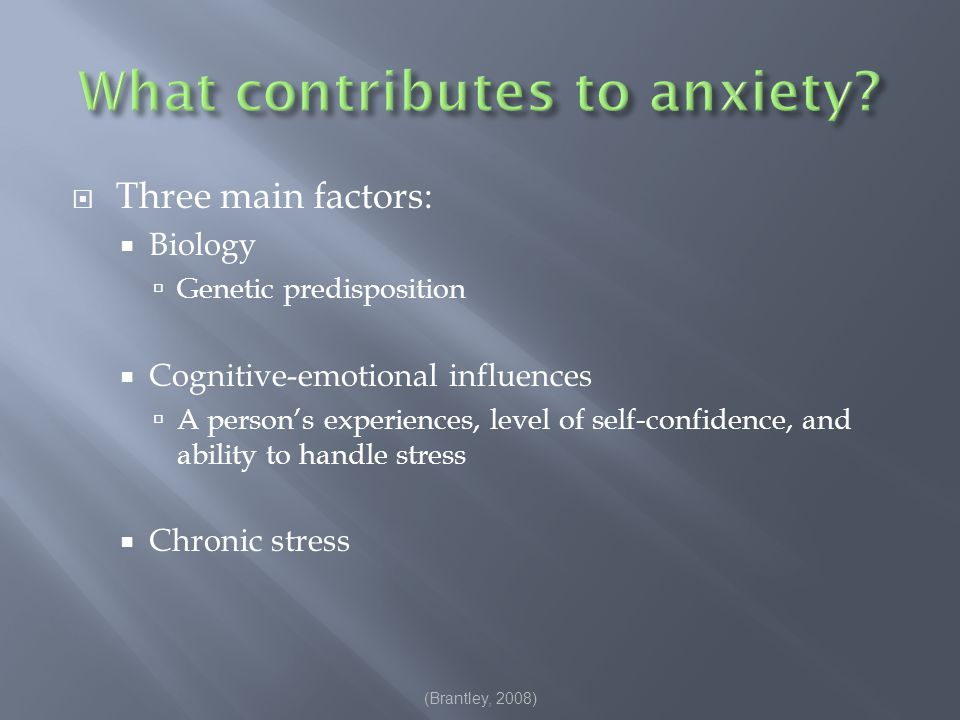  Behavior commonly associated with anxiety:  School avoidance or truancy  Lower academic performance  Irritability  Social withdrawal  Acting out/general disruptions  Inability to cope with stress or certain situations  These behaviors range from major to minor rule violation.