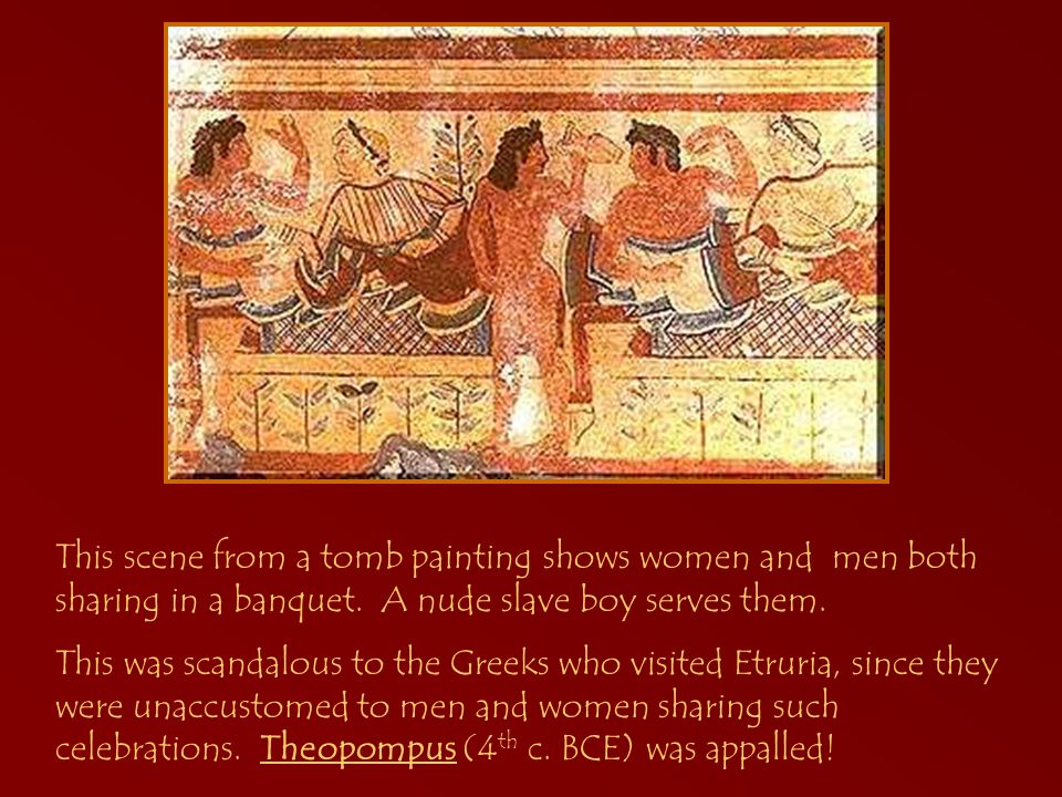 This scene from a tomb painting shows women and men both sharing in a banquet.