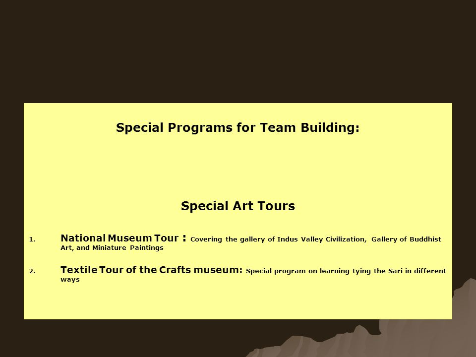 Special Programs for Team Building: Special Art Tours 1.