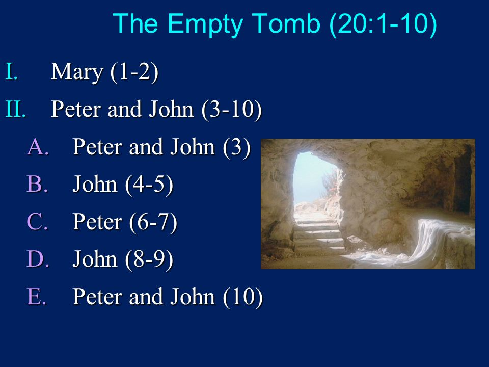 The Empty Tomb (20:1-10) I.Mary (1-2) II.Peter and John (3-10) A.Peter and John (3) B.John (4-5) C.Peter (6-7) D.John (8-9) E.Peter and John (10)