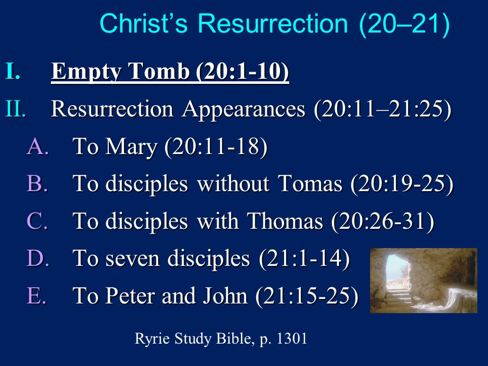 Christ's Resurrection (20–21) I.Empty Tomb (20:1-10) II.Resurrection Appearances (20:11–21:25) A.To Mary (20:11-18) B.To disciples without Tomas (20:19-25) C.To disciples with Thomas (20:26-31) D.To seven disciples (21:1-14) E.To Peter and John (21:15-25) Ryrie Study Bible, p.