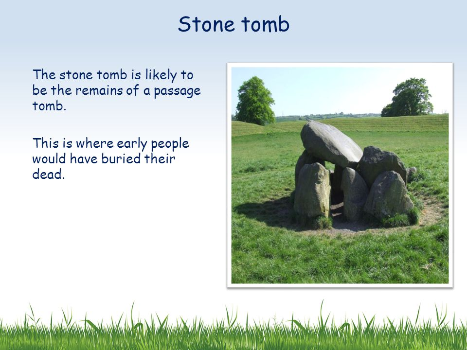 The stone tomb is likely to be the remains of a passage tomb.