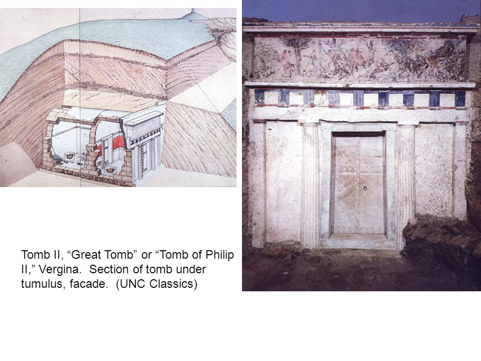 "Tomb II, ""Great Tomb"" or ""Tomb of Philip II,"" Vergina. Section of tomb under tumulus, facade. (UNC Classics)"