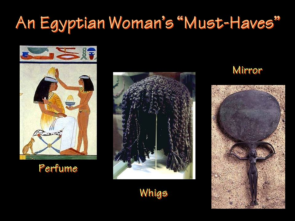 An Egyptian Woman's Must-Haves Perfume Whigs Mirror