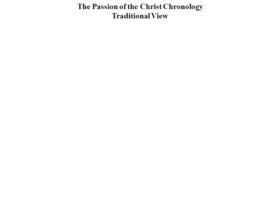 The Passion of the Christ Chronology Traditional View