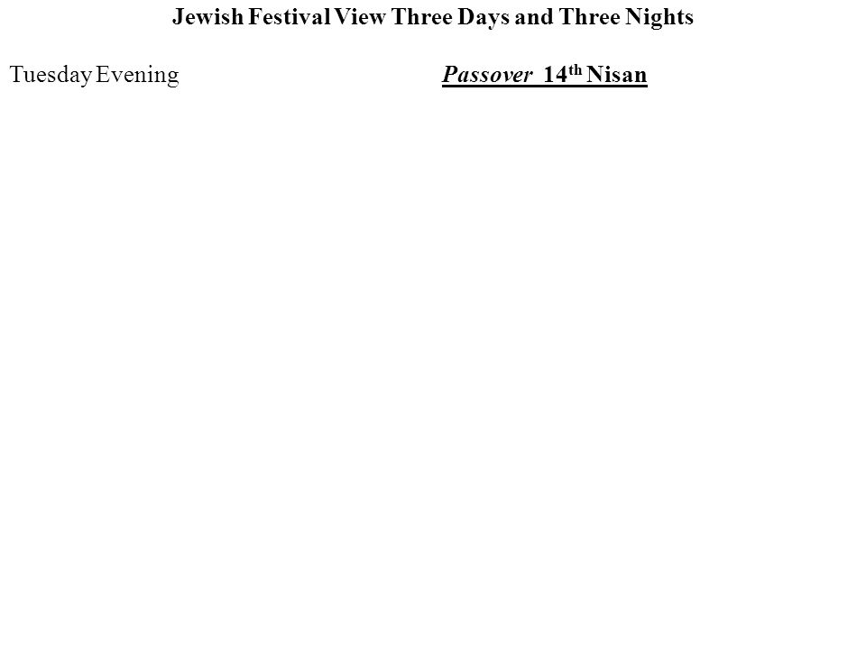 Jewish Festival View Three Days and Three Nights Tuesday EveningPassover 14 th Nisan