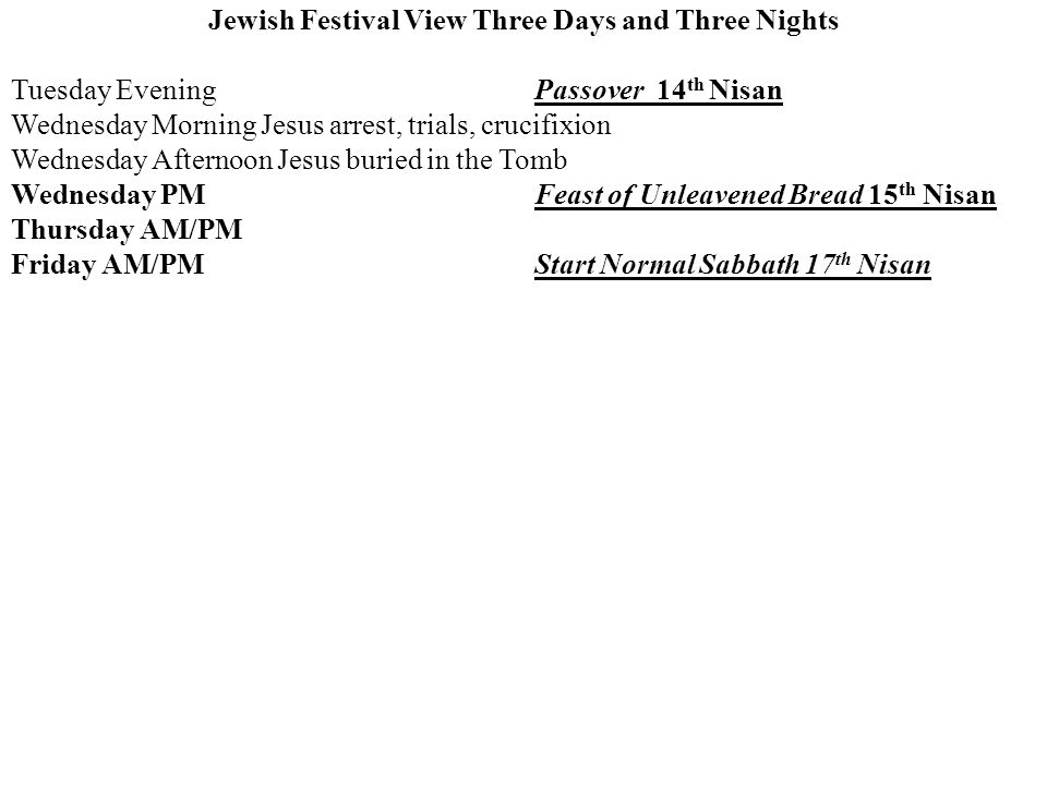 Jewish Festival View Three Days and Three Nights Tuesday EveningPassover 14 th Nisan Wednesday Morning Jesus arrest, trials, crucifixion Wednesday Afternoon Jesus buried in the Tomb Wednesday PM Feast of Unleavened Bread 15 th Nisan Thursday AM/PM Friday AM/PM Start Normal Sabbath 17 th Nisan