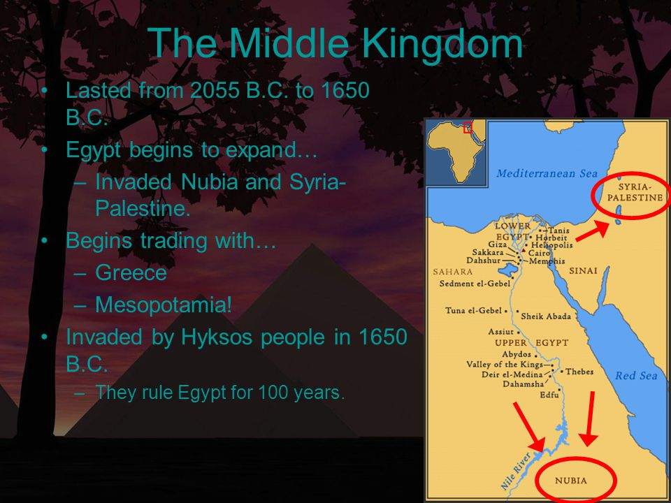 Lasted from 2055 B.C. to 1650 B.C. Egypt begins to expand… –Invaded Nubia and Syria- Palestine. Begins trading with… –Greece –Mesopotamia! Invaded by