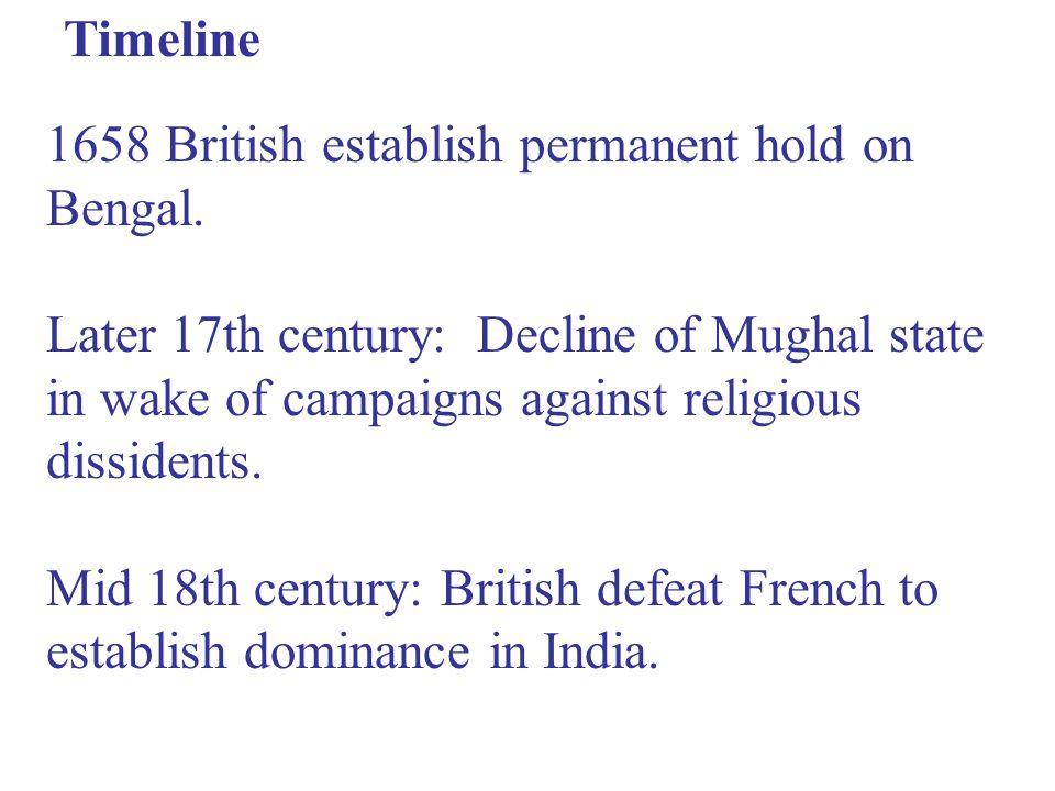Timeline 1658 British establish permanent hold on Bengal.